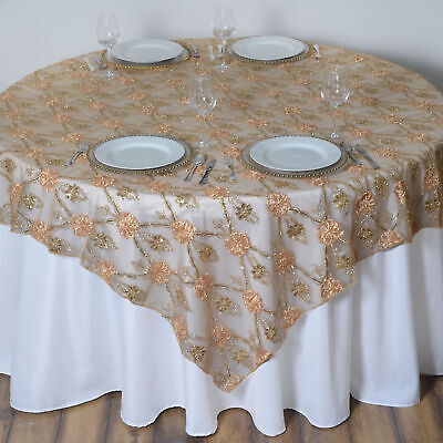 """Gold FLOWERS LACE 72x72"""" TABLE OVERLAY Sparkly Wedding Party Catering Decoration"""