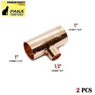 2 Pcs - 1 X 1 X Copper Reducing Tee For Plumbing