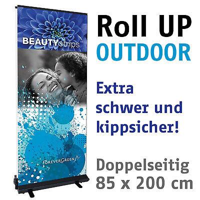 Outdoor Banner Display (RollUp Roll UP Outdoor Bannerdisplay, doppels. 85x200cm Passantenstopper)