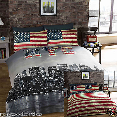 New York NYC Skyline Reversible Duvet Cover/Quilt Cover Set Bedding