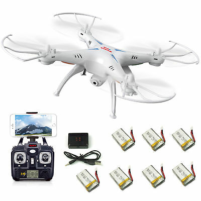 7 Batteries Syma X5SW RC Quadcopter Drone Headless Wifi FPV HD Camera RTF White