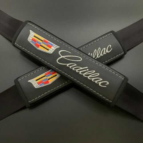 Black Seat Belt Shoulder Pads Covers Multicolor embroidery fits Cadillac 2PCS