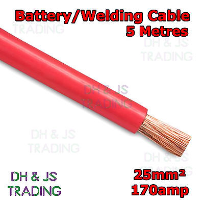 5m Red Battery Welding Cable 25mm² 170a Flexible Marine 4AWG 4 Gauge Power OFC