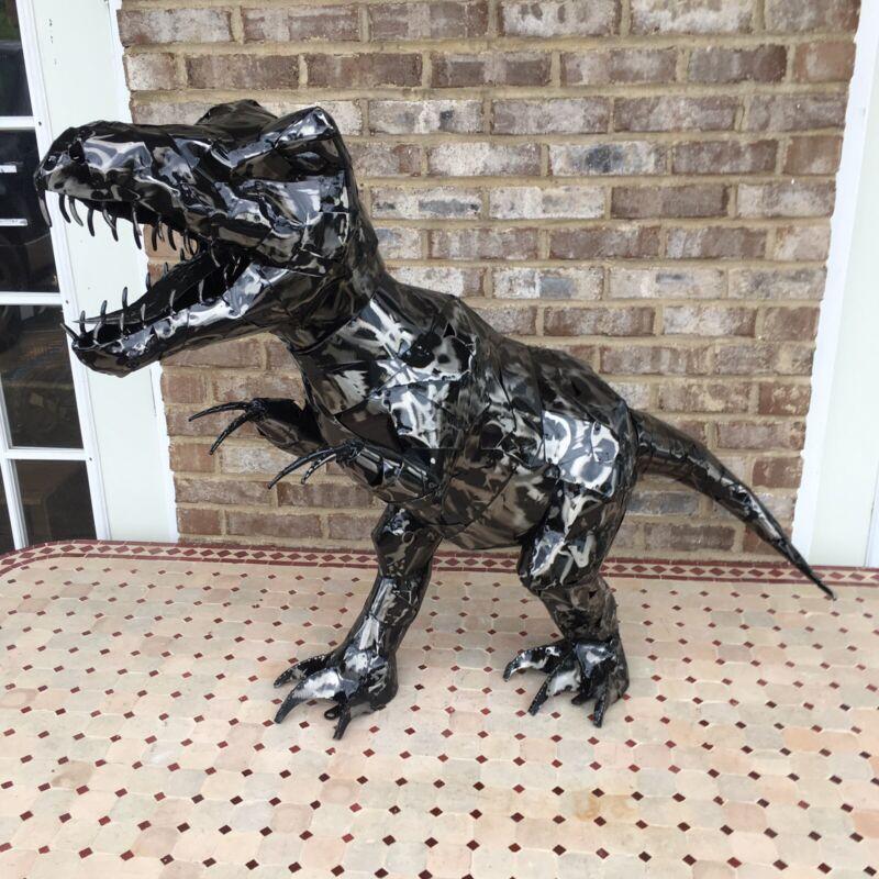 3Ft Large Trex Statue Metal Art Dinosaur Man Cave Prehistoric Jurassic Garden
