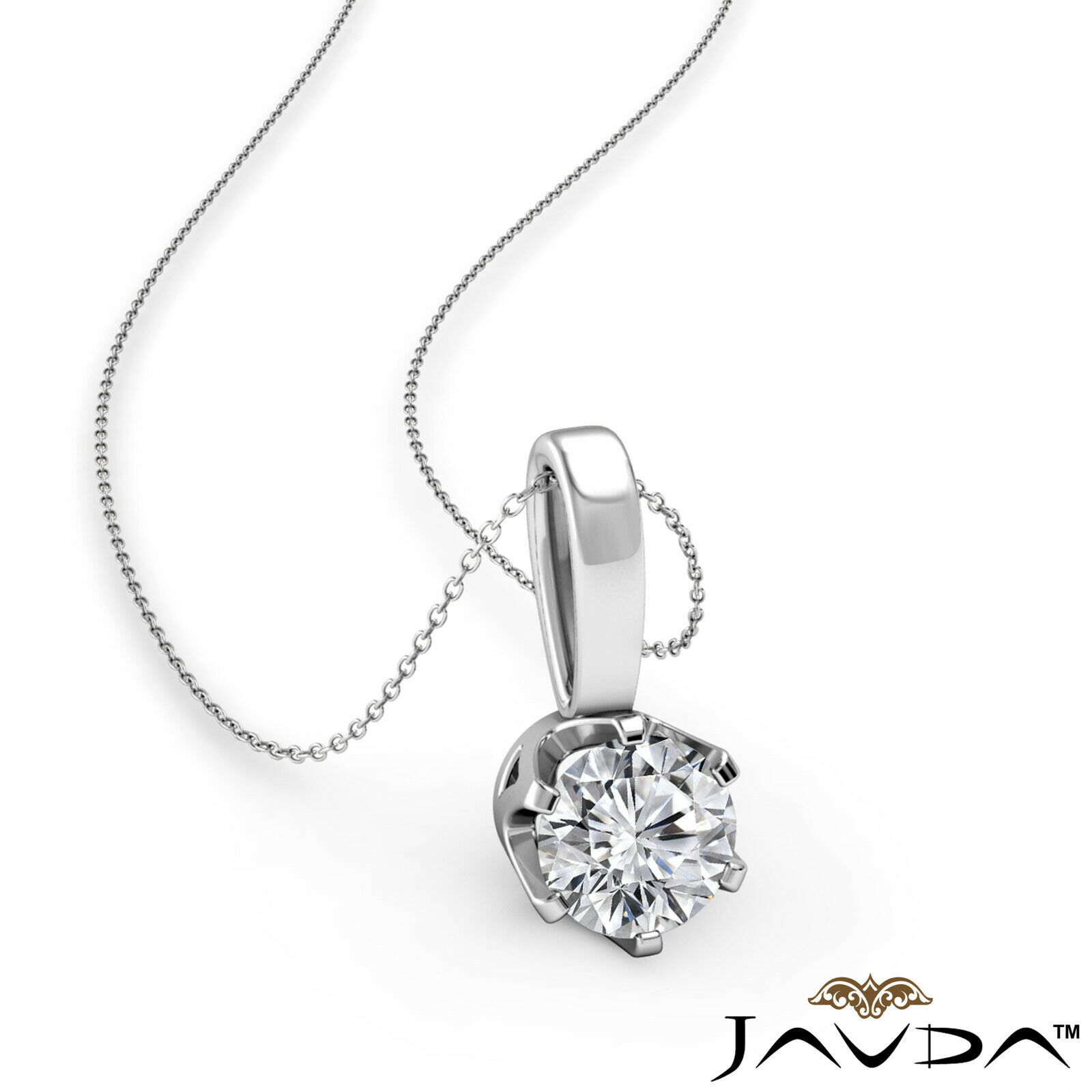 0.27 ctw. Round Cut Real Diamond Solitaire Prong Set Crown Bail Pendant Necklace