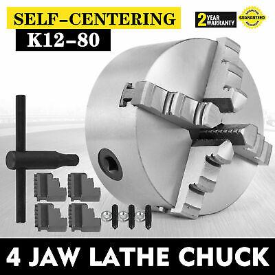 3 4 Jaw Lathe Chuck Cartridge K12-80 80mm Self Centering M6