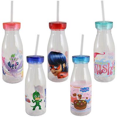 Children's Character Plastic Milk Bottle with Lid & Straw - Choose - Plastic Milk Bottles With Lids