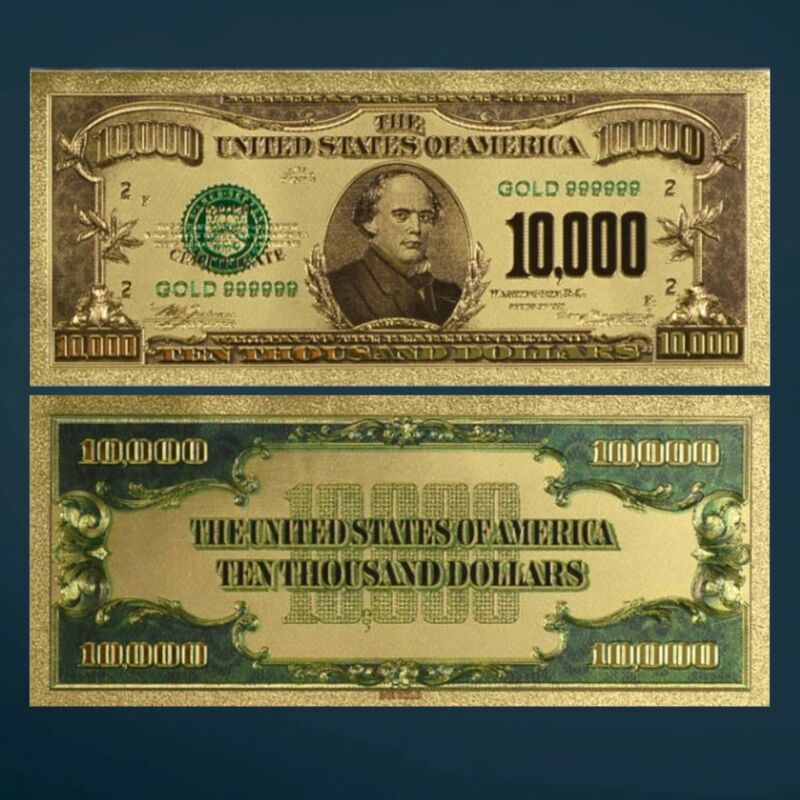 24K GOLD FOIL $10,000 BANKNOTE CURRENCY US UNCIRCULATED BILL NOVELTY MONEY