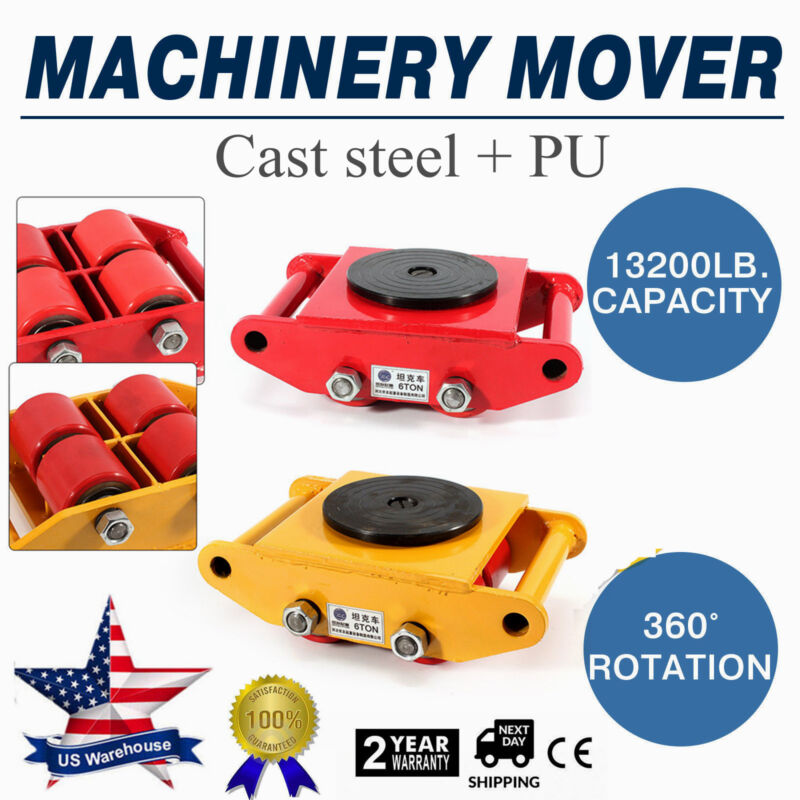 Machinery Mover with 360°Rotation Cap 13200lbs 6T 4 Rollers Machine Dolly Skate