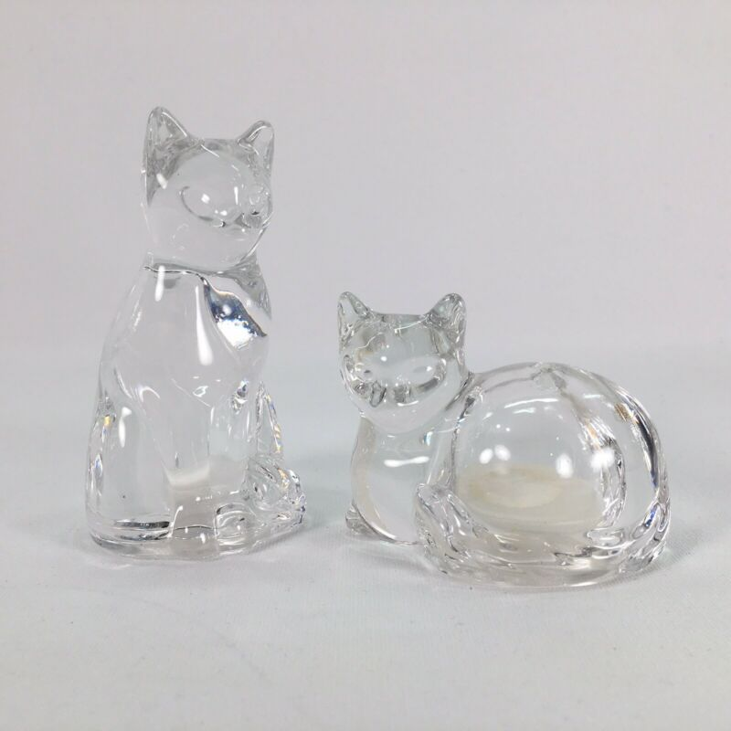 Lenox Fine Crystal Glass Cat Salt & Pepper Shakers Made In Germany 2 Pc Set