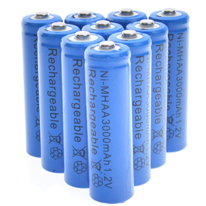 10 AA Rechargeable Batteries NiMH 3000mAh 1.2v Garden Solar Ni-MH Light LED CA