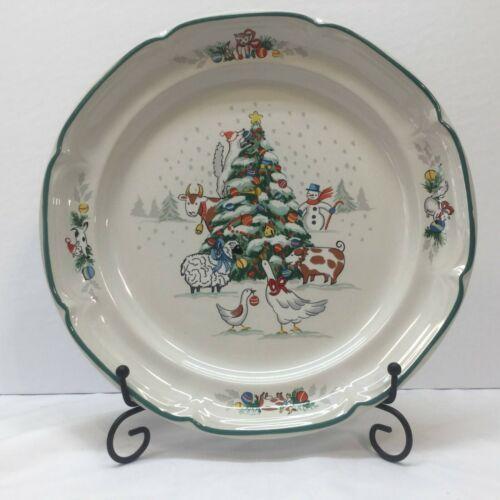 "Set Of 4 International COUNTRY CHRISTMAS 10 3/4"" Dinner Plates ~ Farmhouse Style"