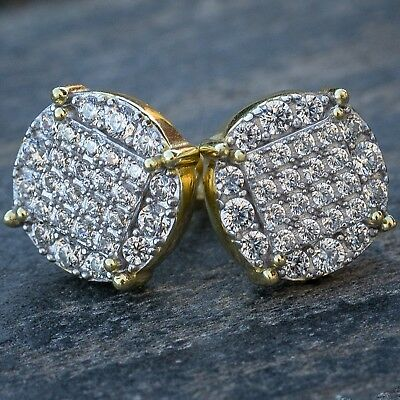 Men's Round Lab Diamond Micro Pave Set Two Tone Gold Stud (Diamond Round Circle Earrings)