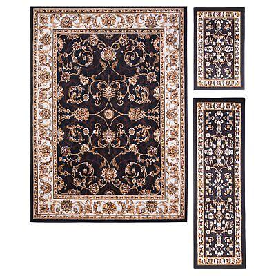 Throw out Rugs 3 Piece Set Living Room Area Floor Mat Runner Scatter Oriental Black
