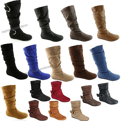 Women's Boots Slouch Below The Knee High New Faux Suede Flat Heels Booties Size - Faux Suede Wedge Boot