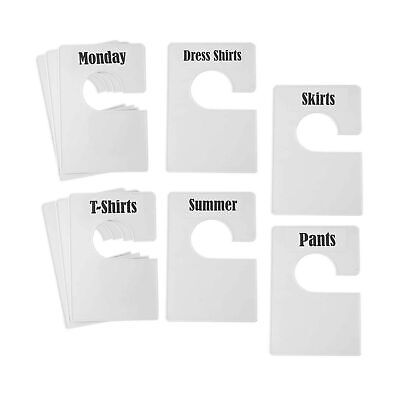 Tragoods 10 Pack White Clothing Rack Size Dividers Plus 60 Labels 1 Inch An...