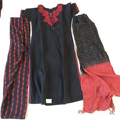Indian Ethnic bollywood Panjabi Dress Suit Salwar Kameez in Black & Red