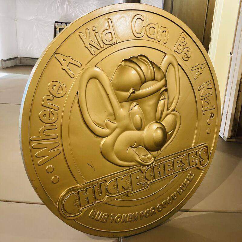 🍕Vintage Chuck E Cheese Sign Wall Art Man Cave Restaurant Advertising Americana