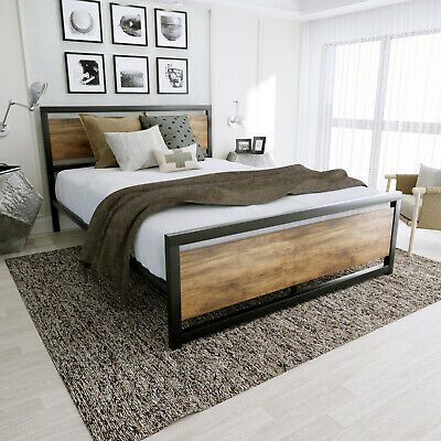 Queen Full Size Metal Platform Bed Frame with Rustic Wood Headboard & Footboard Wood Metal Headboards