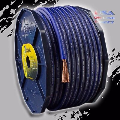 (8 AWG True Gauge 100% OFC Copper BLUE Power Ground Wire Cable Car Audio Install)