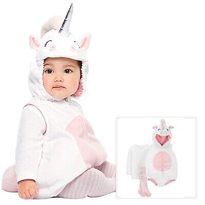 Carter's Unicorn Halloween Costume 12 Months Baby Girls 3 Piece Outfit NEW