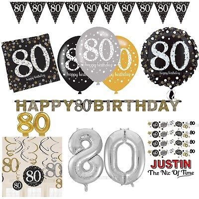 80th Gold Celebration Birthday Party Supplies Balloons Tableware & Decorations ()