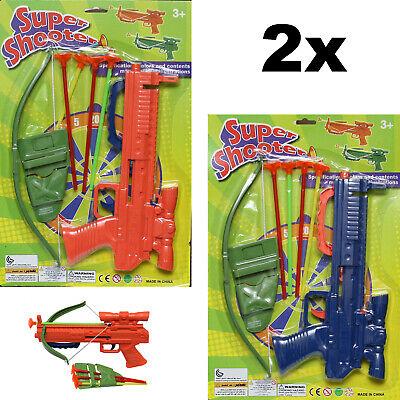 SET OF 2 - SOFT DART GUN CROSSBOW TOY SET CROSS BOW 4 ARROW - BEST FUN FOR KIDS
