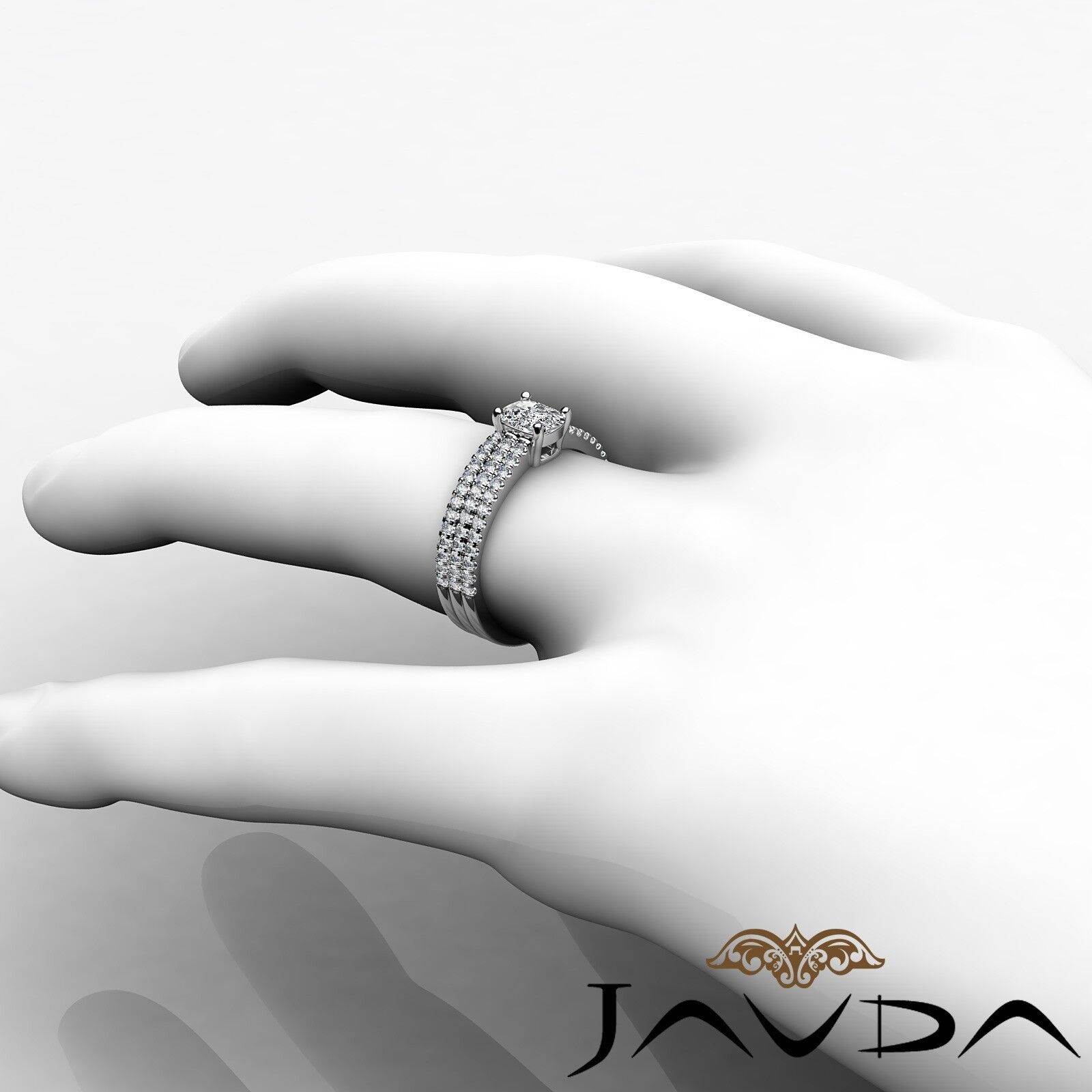 1.54ctw Bridal Scalloped Pave Cushion Diamond Engagement Ring GIA G-SI1 W Gold 5