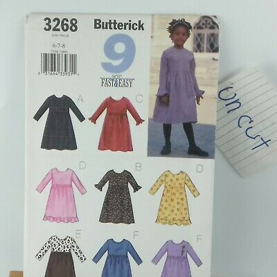 BUTTERICK  3268 GIRLS 9 SEW FAST AND EASY DRESSES