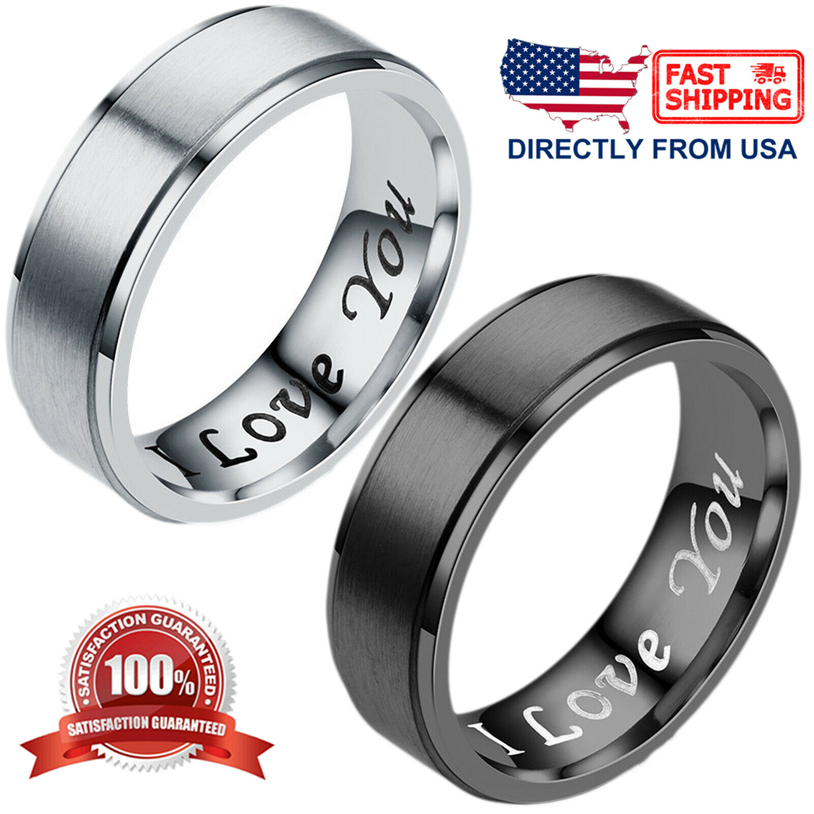 """I Love You"" Couple's Matching Promise Ring Men Women Matte"