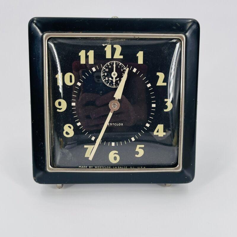 Vtg Westclox Black Big Ben Clock Luminescent ALARM Square Art Deco USA - Working