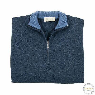 Doriani Blue Melange 100% Cashmere Raglan Rib Knit Piped Half Zip Sweater M/50EU