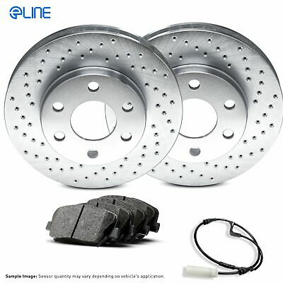 For BMW 545i, 645Ci, 550i, 650i, 535i Rear  Drilled Brake Rotors+Ceramic Pads