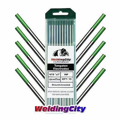 10-pk Tig Welding Tungsten Electrode Pure Green 116x7 Us Seller Fast Ship
