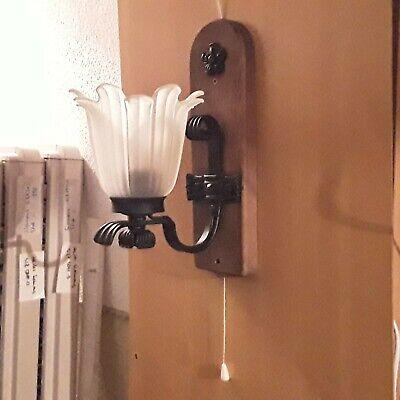 Wandlampe E27 Wandleuchte kpl. montiert auf Brett mit Kabel Stecker Zugschalter