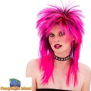 80s PINK PUNK ROCKER ROCK CHICK DIVA WIG womens ladies fancy dress costume