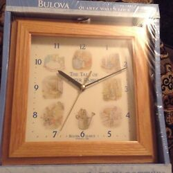 The Tale of Peter Rabbit Bulova Quartz Wood Frame Wall Clock