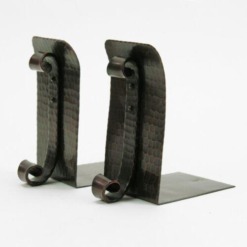 Roycroft shops hammered copper rivet scroll bracket bookends arts & crafts brown