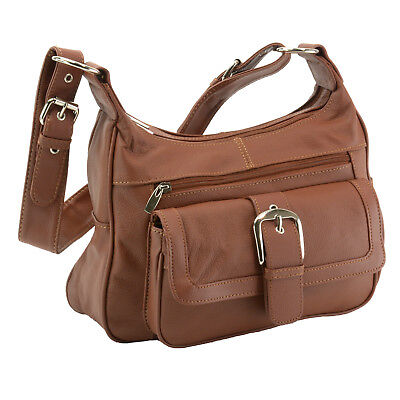 Women's Leather Organizer Purse Multi Pocket Handbag Shoulde