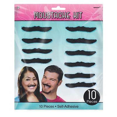 Kostüm Selbstklebend Aufkleben Schnurrbart Moustache Set x10 Lustig - 10 Lustige Kostüm