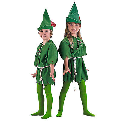 Peter Pan Green Elf Small Med Large Kids Child Costume Tunic Tights Archer Hat](Child Elf Costume)