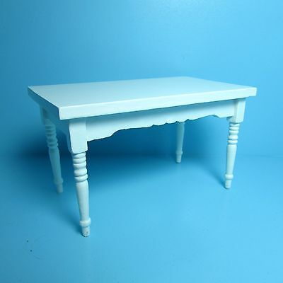 Dollhouse Miniature Rectangle Dining Room / Kitchen Table in White ~ M0536A