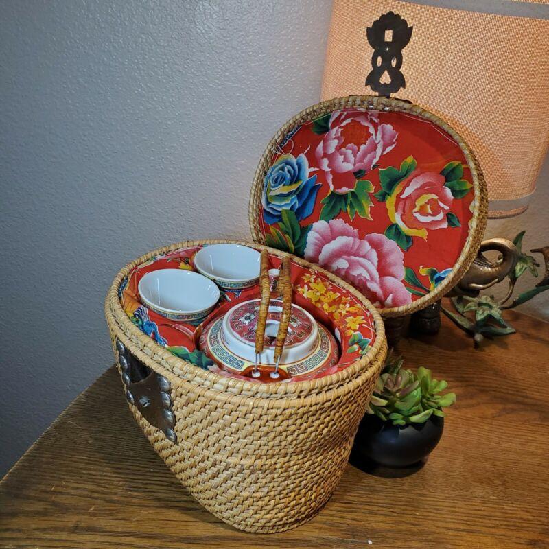 Vintage Asian Tea Set 3pcs Padded Floral Basket Picnic Ceremonial Heirloom