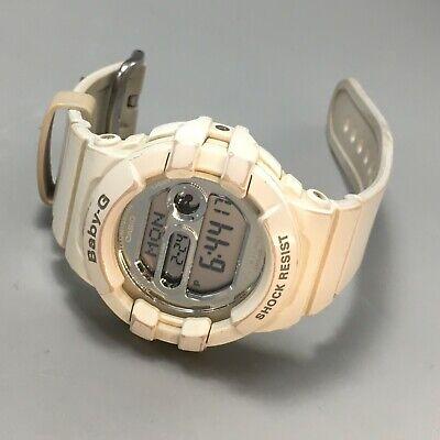 Casio Women's Baby-G Digital Round Shiny Dial White Resin Watch BGD141-7