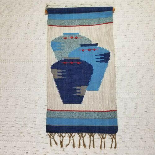 Vtg Southwestern Handwoven Rug Tapestry Wall Hanging Jar Pottery Design Decor