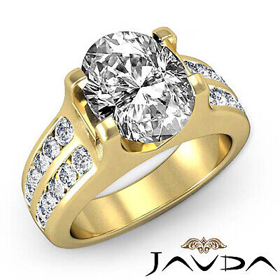 2 Row Channel Prong Setting Oval Diamond Engagement Ring GIA I Color SI1 1.62Ct 6