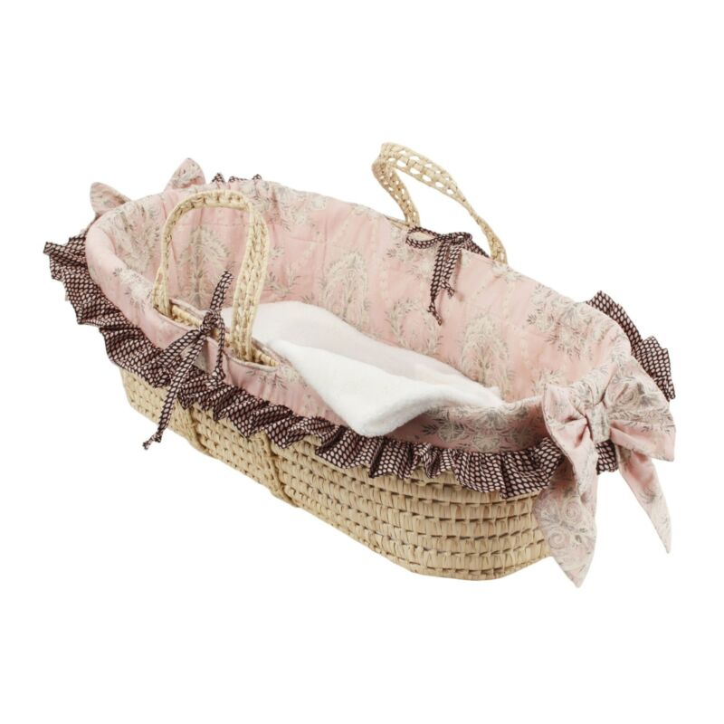 Cotton Tale Nightingale Moses Basket Pink, Black, Grey