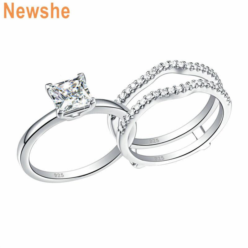 Newshe Princess Cz Wedding Band Enhancer Engagement Ring Set 925 Sterling Silver