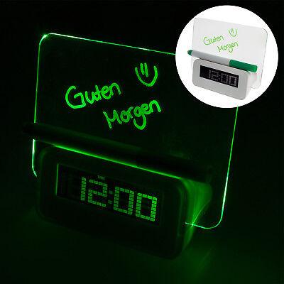 Digital LCD Tisch Wecker Uhr Kinderwecker mit LED Memoboard Kalender Temperatur