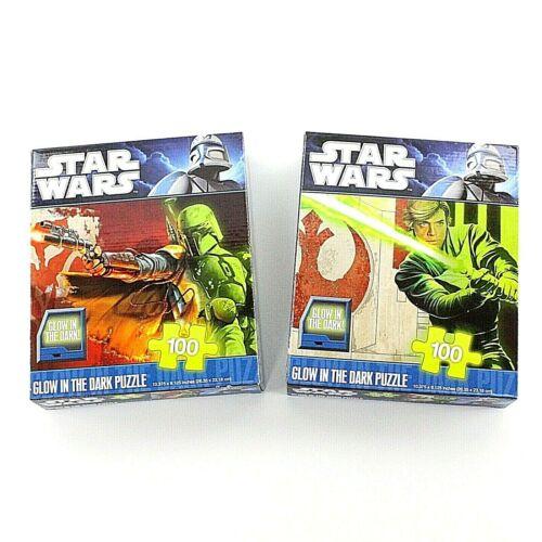 (Set of 2) Star Wars 100-Piece Glow In The Dark Puzzles Luke Skywalker Boba Fett